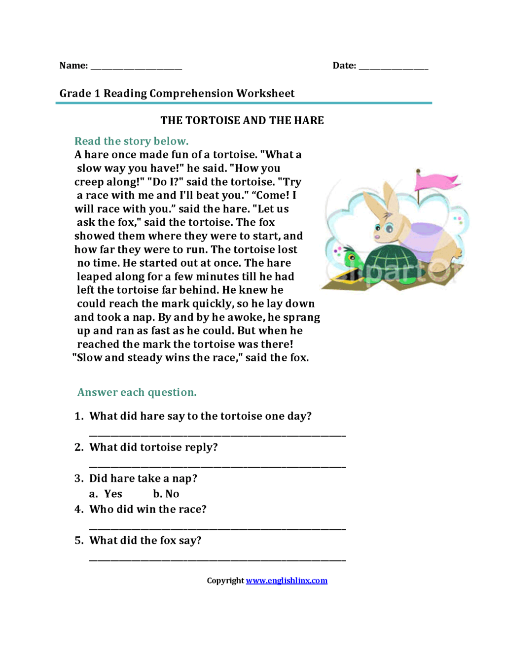 Free Middle School Reading Comprehension Worksheets