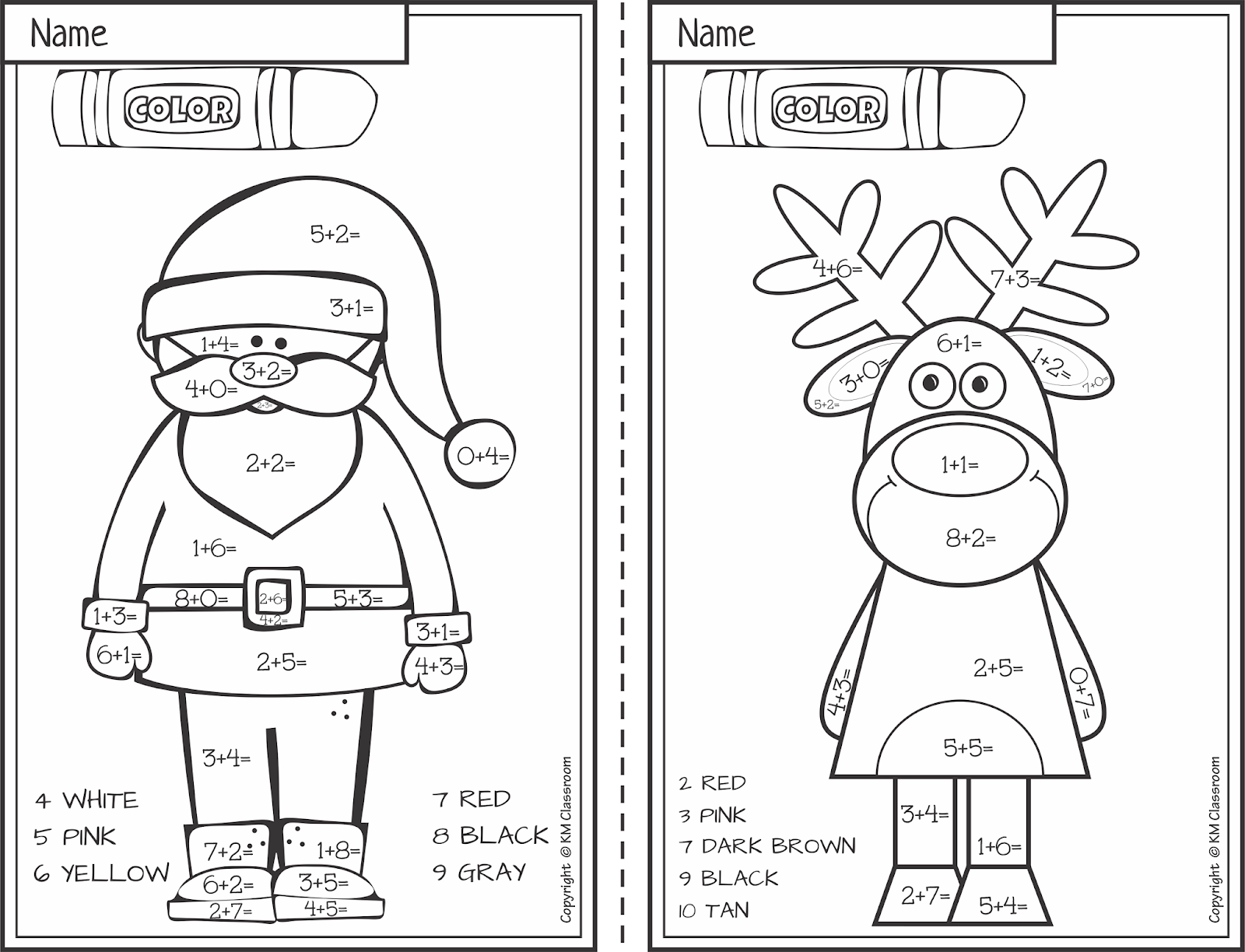Christmas Worksheets Color By Numbers Printable