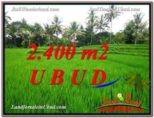 TANAH di UBUD JUAL MURAH 2,400 m2 View Sawah link Villa