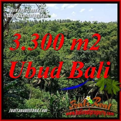 Tanah Dijual di Ubud 3,300 m2  View sungai, lingkungan Villa, Restoran dan Hotel