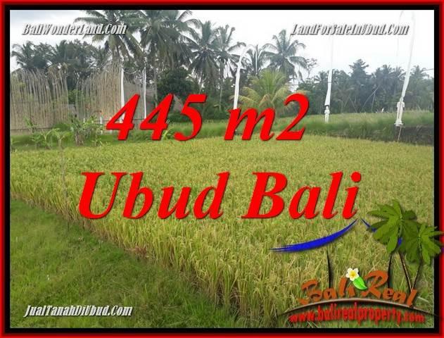 Tanah Dijual di Ubud Bali 445 m2 View sawah, lingkungan Villa