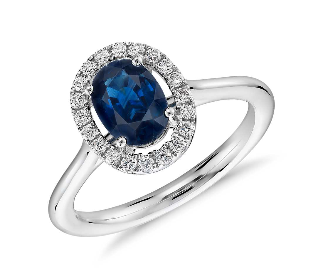 Oval Sapphire And Diamond Micropav Ring In 18k White Gold