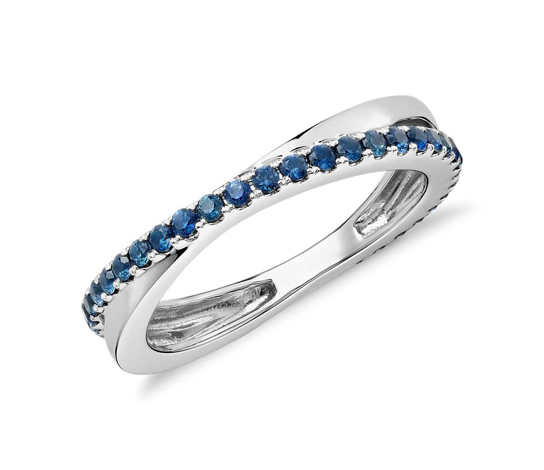 Sapphire Infinity Eternity Ring In 18k White Gold Tanary