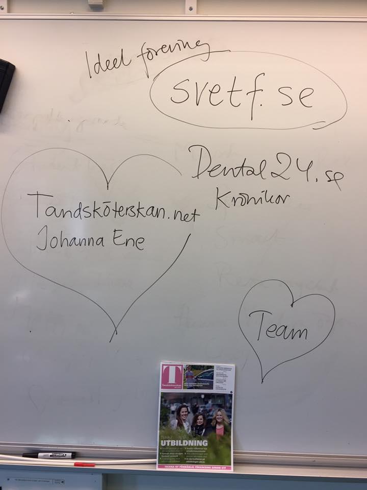 Karin Sjögren föreläser på tandsköterskeutbildning
