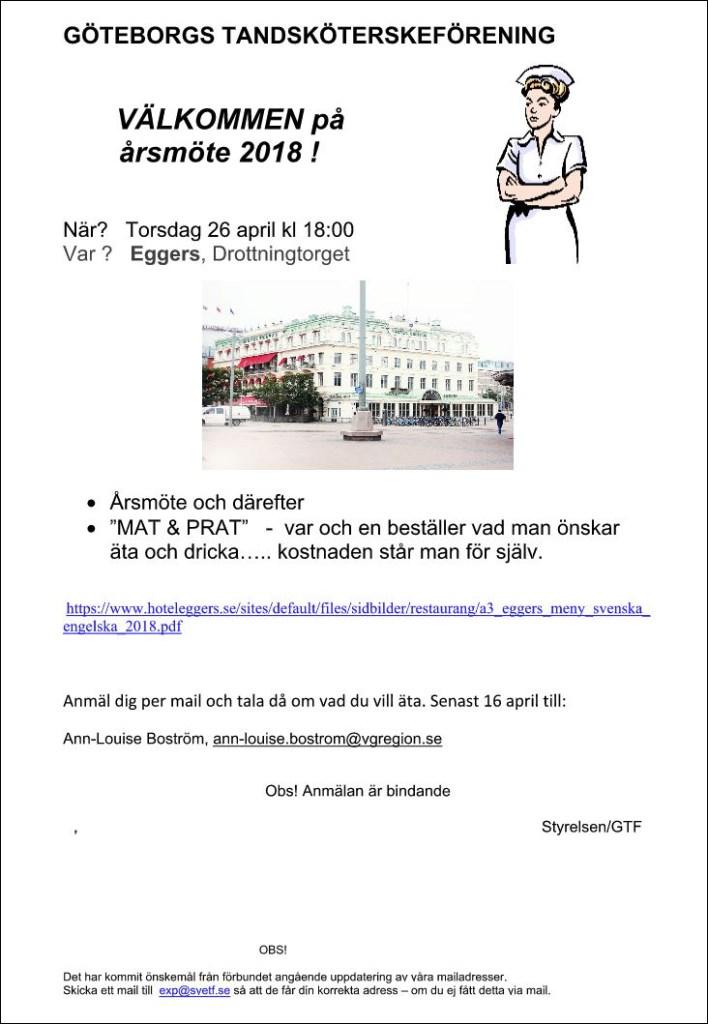 Göteborgs Tandsköterskeförening årsmöte