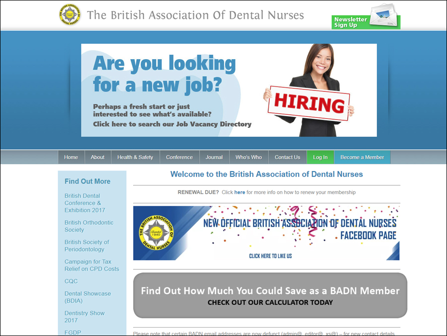 The British Association of Dental Nurses website