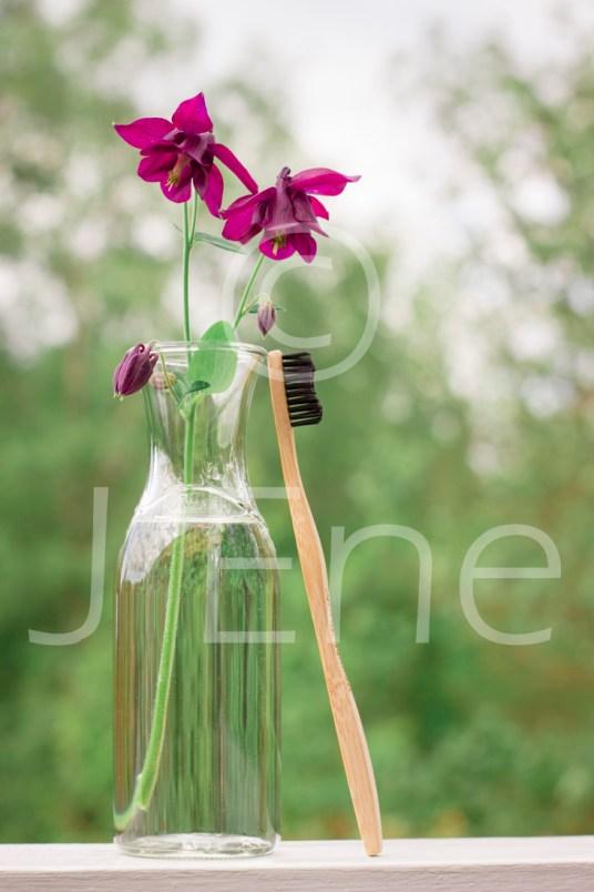 Tandborste i bambu står lutad mot en glasvas med blommor av akleja.