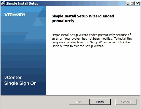 Simple Install Setup Wizard ended prematurely because of an error