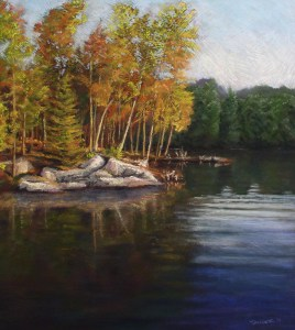 pastel of birch trees and rocks reflecting in the lake water