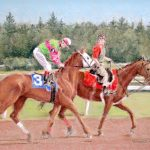 pastel of horses cooling after a race