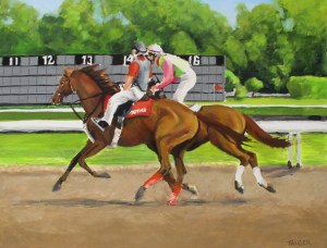 oil painting of jockey on race horse cooling out at the Saratoga track with outrider on pony
