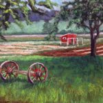 pastel of red hen house on a farm