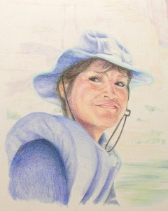 colored pencil drawing of woman with hat