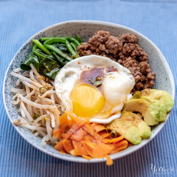 Korean Beef Bibimbap with Beef, Spinach, Bean Sprouts, Carrots, Avocado & Egg