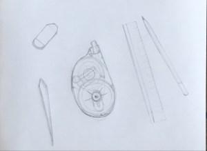 Pinces, goma, corrector de cinta, regle i llapis a llapis