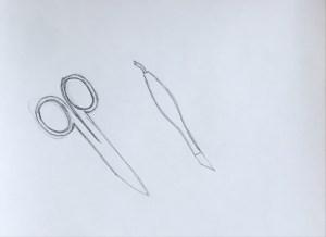 Tissores i eina de manicura a llapis