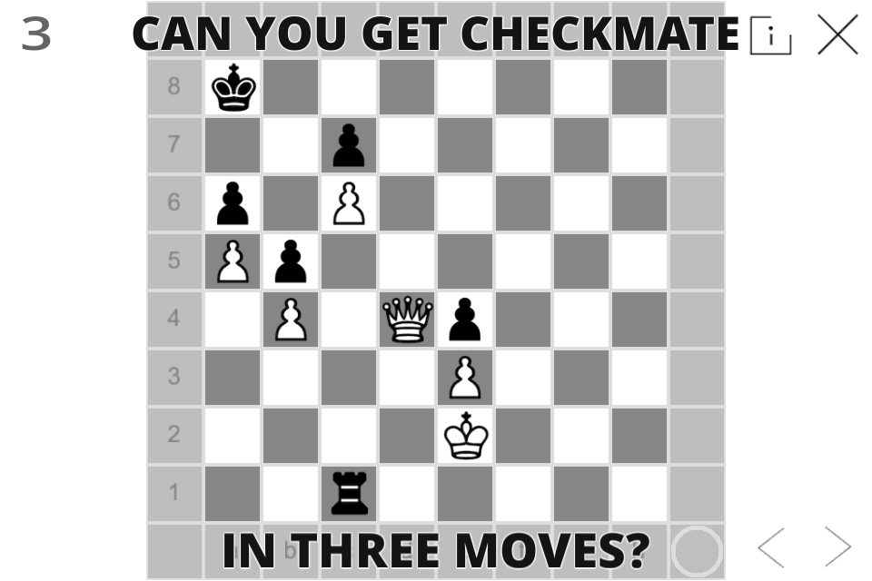 Chess board layout with checkmate 3 moves away