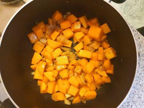 Pumpkin Cream Soup With Feta Cheese - sautéing the pumpkin