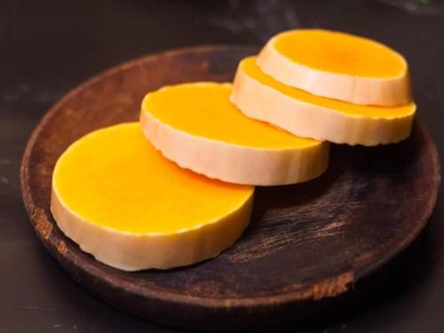 Roasted Butternut Pumpkin With Mozzarella - recipe ingredients - pumpkin cut into rings