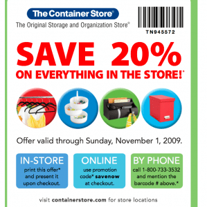 picture relating to Container Store Coupon 20 Printable known as 20% Off @ Container Retail outlet Â« Tango Diva : Generate Reports for