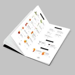 Diseño de carta de copas y cócteles para bar