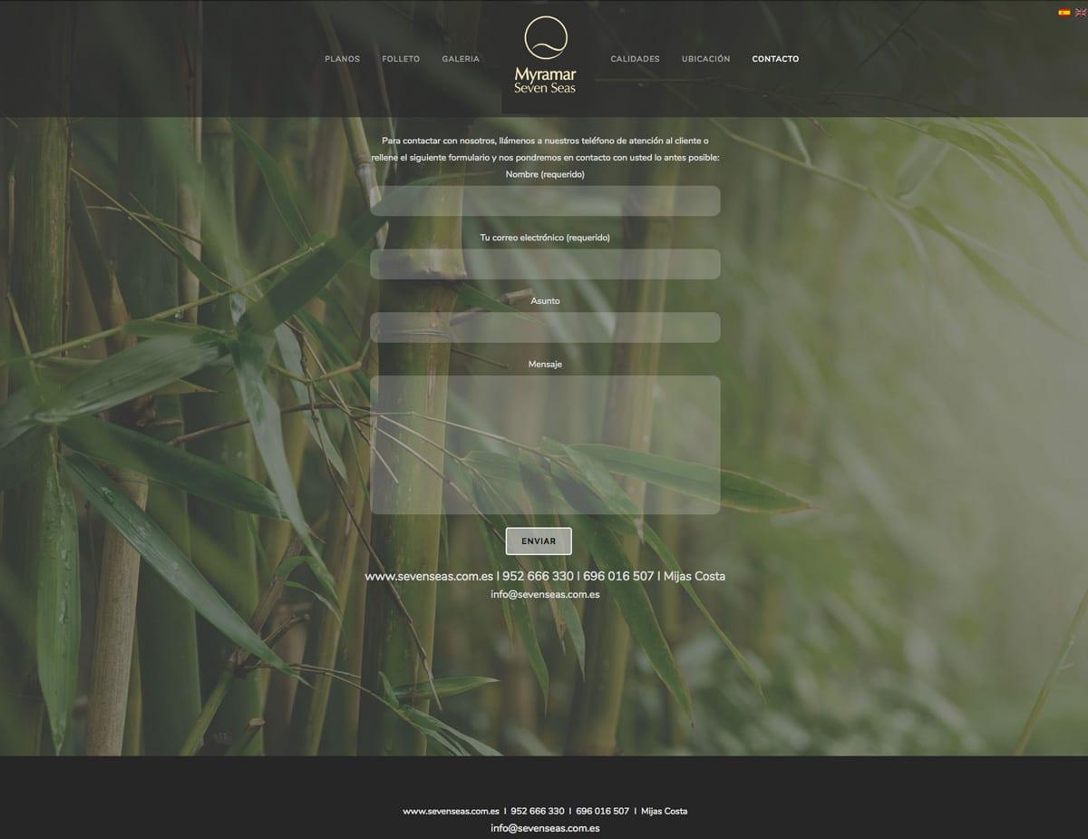 diseño de contacto para web de promocion inmobiliaria