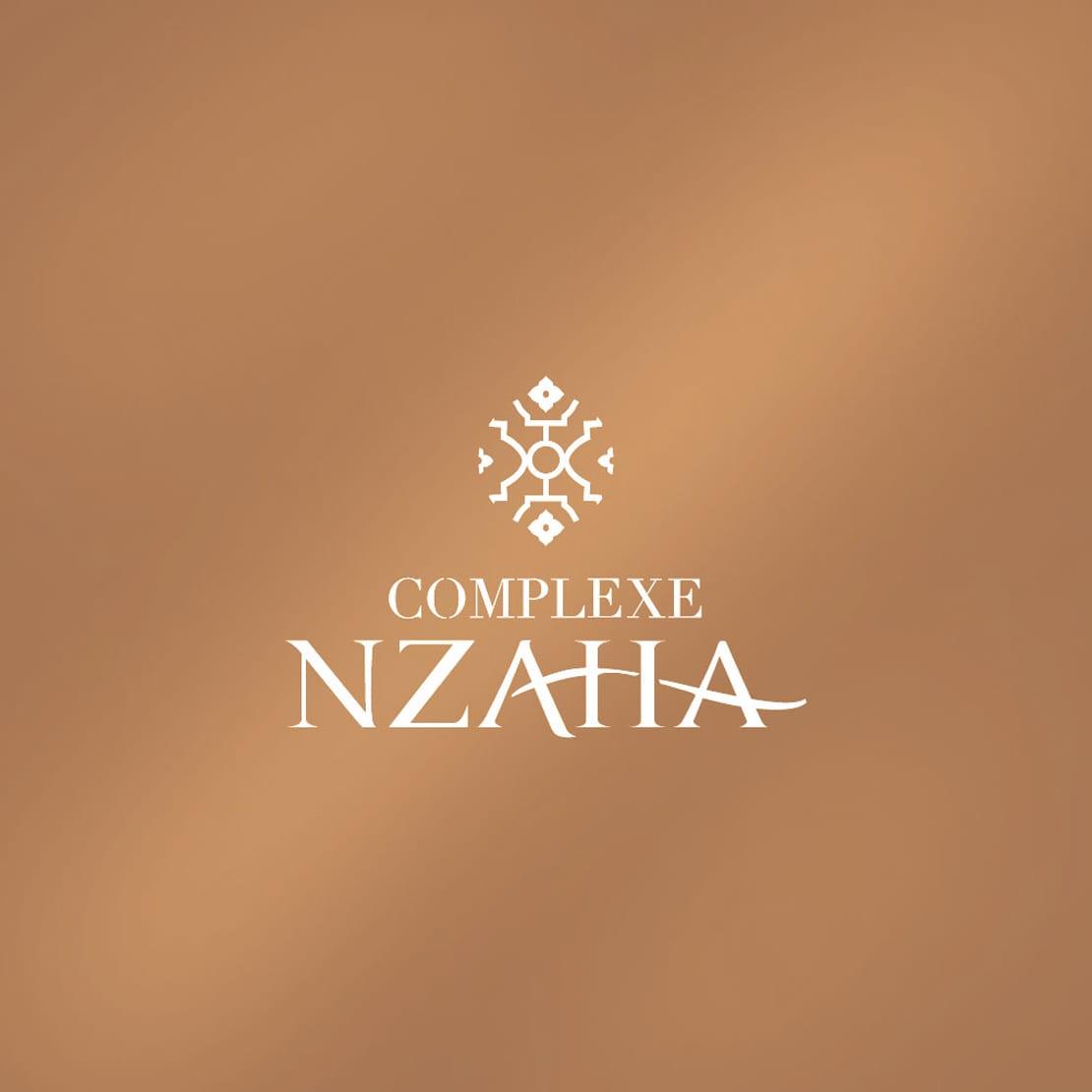 Complexe Nzaha, diseño elegante de logotipo en colores cobres