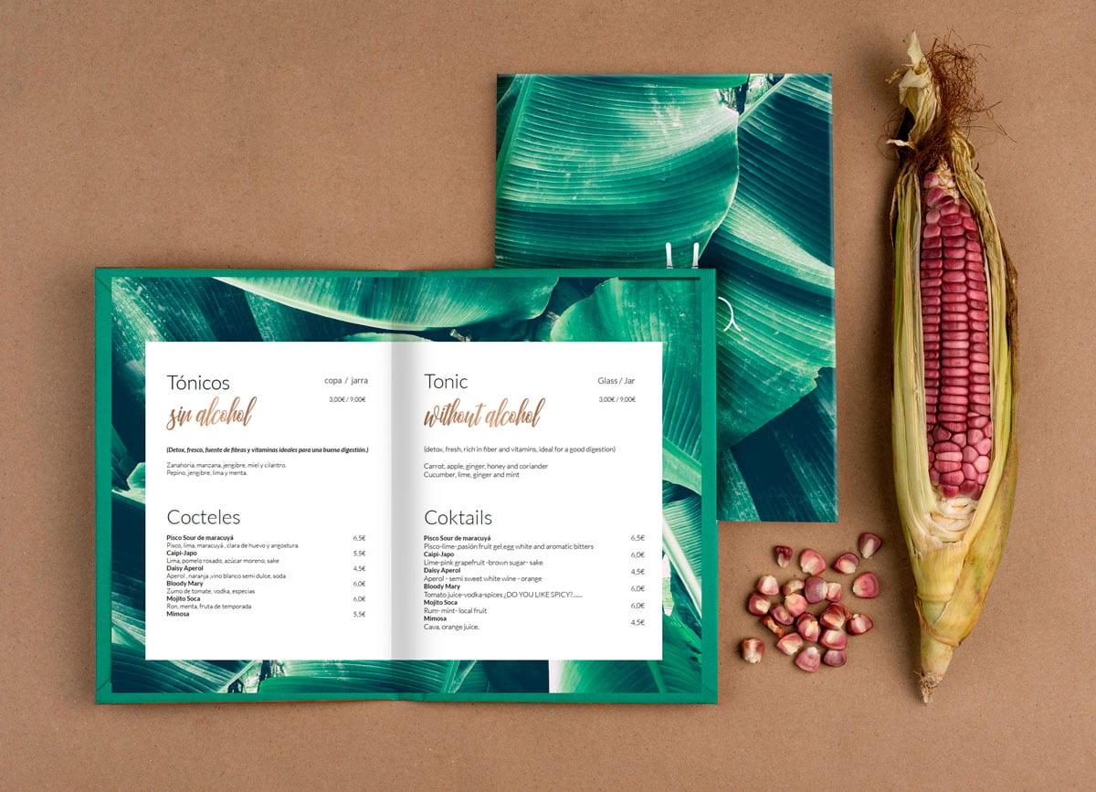 Soca, diseño de cartas menus