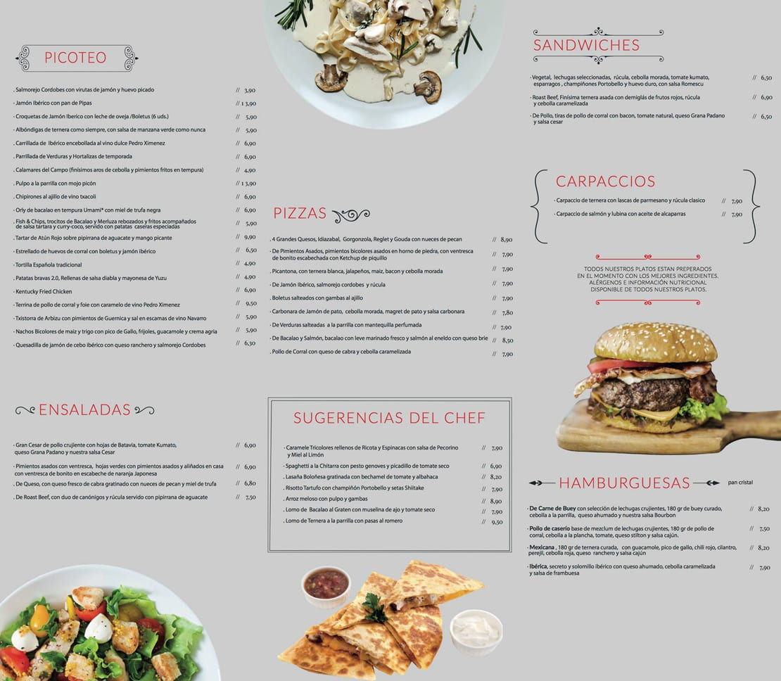 Trending Tapas, diseño de cartas menus