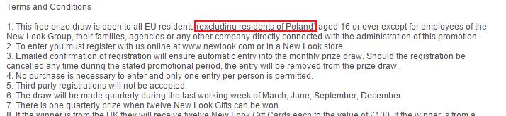 Regulamin konkursu New Look - dyskryminacja Polakow w pierwszym punkcie