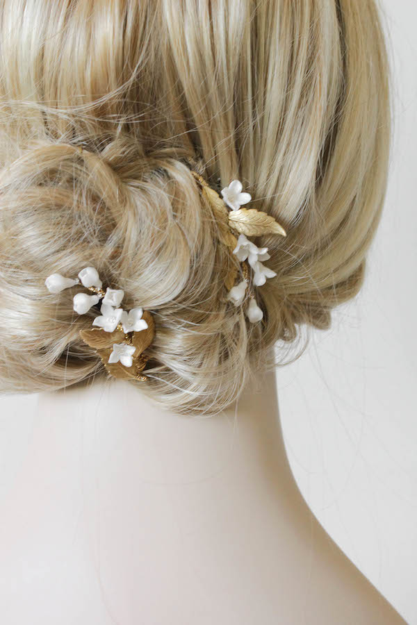 Wedding Belles Lily Of The Valley Hair Combs In Gold And