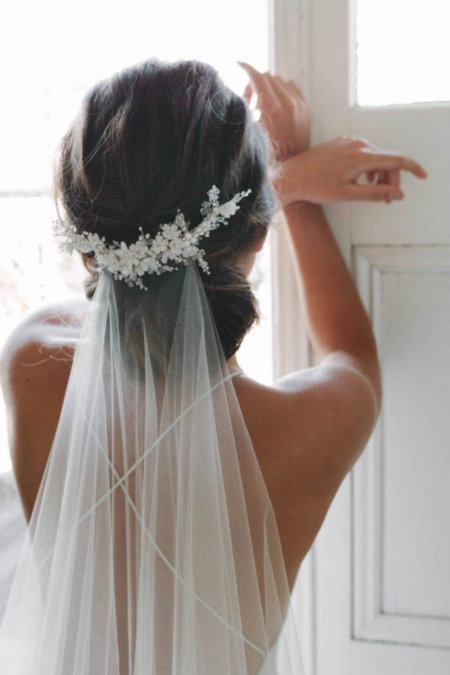 marion | delicate floral bridal comb