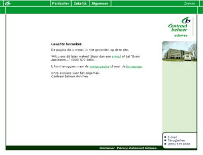 Oude 404 pagina centraalbeheer.nl