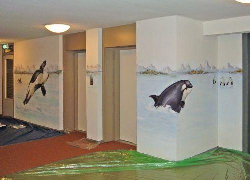 Muurschilderingen in zorgcentrum te Rotterdam i.s.m. Marinde Molendijk (Ultramarinde)