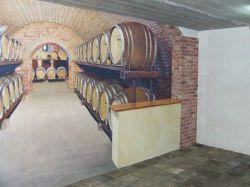 Muurschildering in wijnkelder