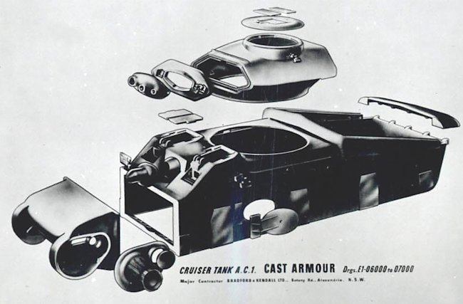 Diagram of the major castings of the AC I tank. Source: National Australian Archives MP730 10