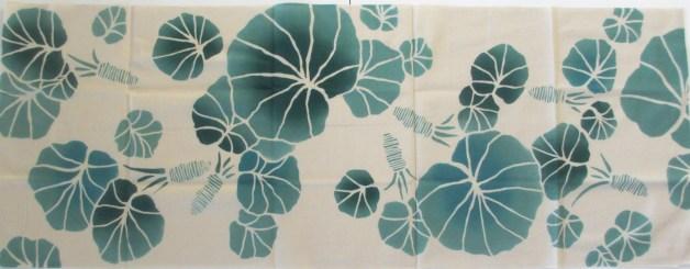 Tenugui feuilles turquoises