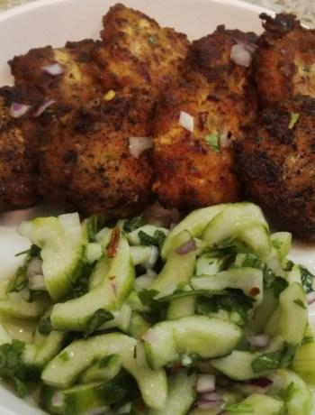 Thai fish cakes and cucumber salad