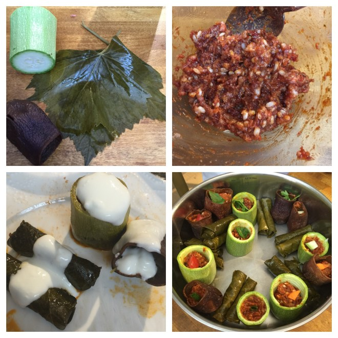 Stuffed dried eggplants, courgette and vine leaves