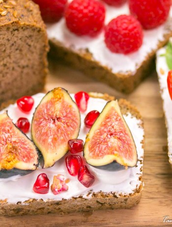 Almond and Coconut bread with cream cheese and figs
