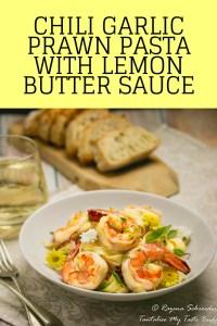 Chili Garlic Prawn Pasta with lemon butter sauce pin