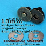 Antique Brass Pronged Magnetic Snap - 18mm