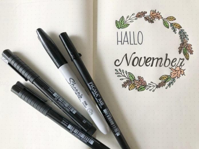 Het thema van mijn bulletjournal in november