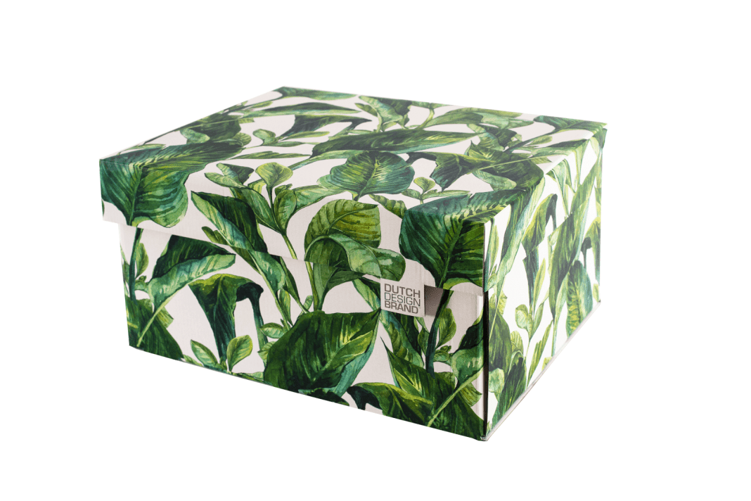 Dutch Design Storage Box Green Leaves