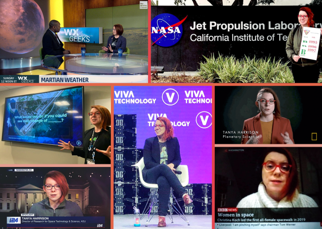 A sampling of Dr. Tanya Harrison's television and speaking appearances, including i24, BBC News, National Geographic, The Weather Channel, and Viva Technology in Paris.