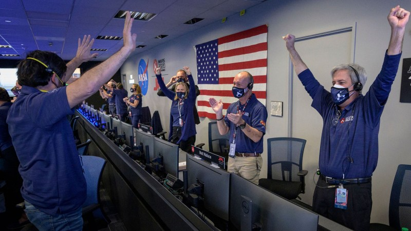 JPL Mission Control cheering with success at Perseverance's landing