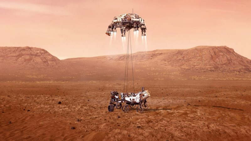 Artist's rendition of NASA's Perseverance rover landing on Mars beneath its skycrane