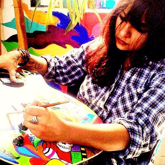 Artist Rithika Kumar at work