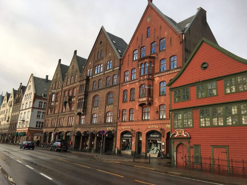 Bryggen Wharf with UNESCO heritage structures dating from 14th C & Bergen Outskirta