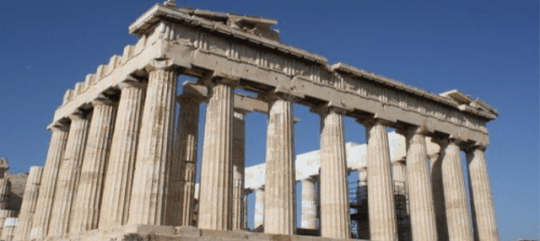The ruins of the Parthenon, located in Athens.